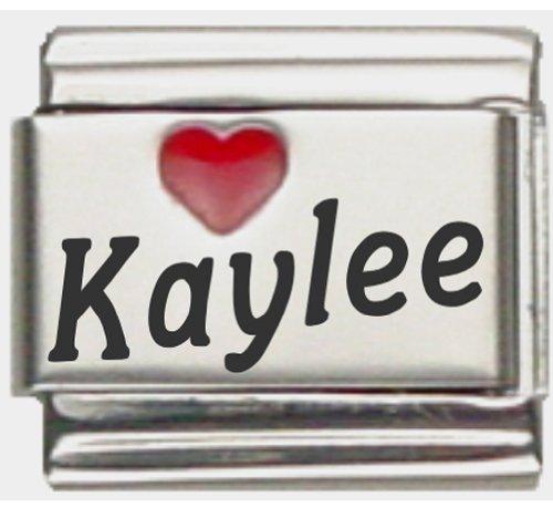 Kaylee Red Heart Laser Name Italian Charm Link (Kaylee Charm)