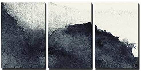 3 Panel Black Ink Painting Style Abstract Artwork x 3 Panels