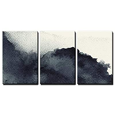3 Panel Canvas Wall Art - Black Ink Painting Style Abstract Artwork - Giclee Print Gallery Wrap Modern Home Art Ready to Hang - 16