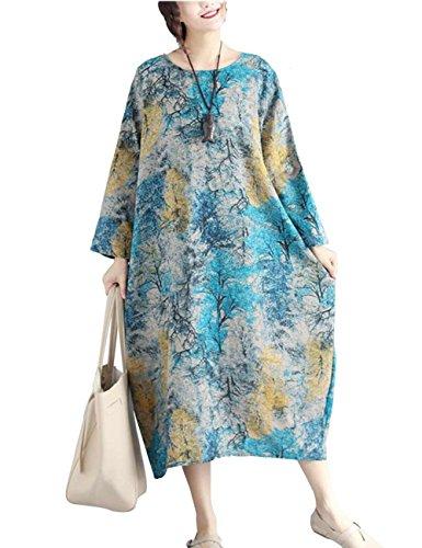 Liebeye ファッショナブル 大型 ロング スリーブ ルース ドレス シンプル ラウンド ネック スカートギフト ビーチウエア