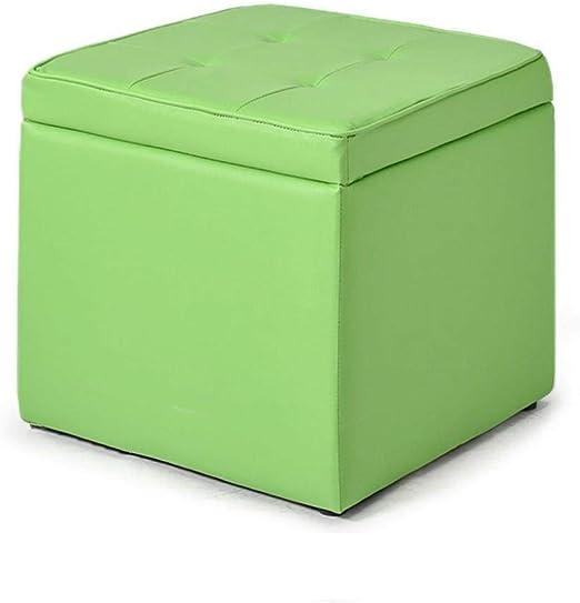 THBEIBEI Zapateros Banco de Almacenamiento de la PU Reposapiés Puf otomana Multifuncional de Almacenamiento Caja Cofre tapizada de Maquillaje heces Sala de Estar (40cmx40cmx40cm) (Color : Green): Amazon.es: Hogar