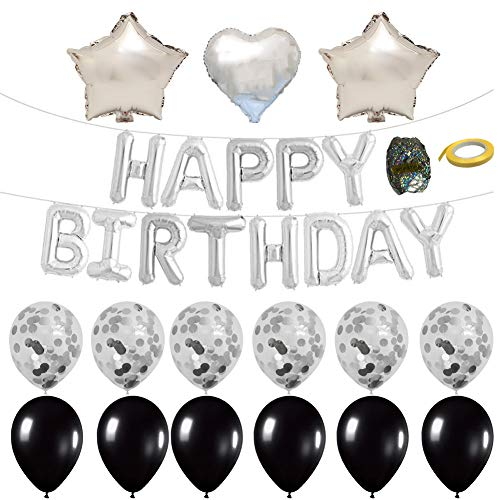 Birthday Silver Balloon (Tellpet Silver Happy Birthday Banner Balloons for Party Decorations with 1 Happy Birthday Letter Balloons, 6 Pcs Confetti Balloons, 6 Pcs Latex Balloons and 1 Foil Helium Star Shape Balloon, 2 Foil Helium Heart Shape Balloons)