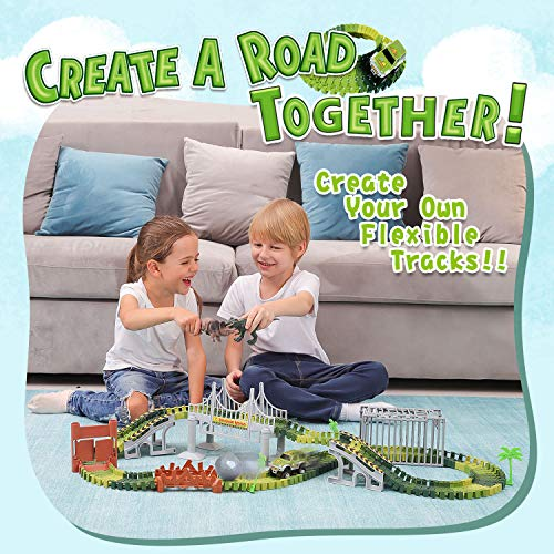 Veken Slot Car Race Track Set with 2 Dinosaurs, 1 Race Car Toy, Cage, Ball, Double-Door, 2 Bridges, Slopes, 4 Trees & 144 Flexible Tracks Create A Road in Jurassic World Gift for Boys Girls