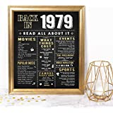 Katie Doodle 40th Birthday Decorations Gifts for Women or Men   Includes 8x10 Back-in-1979 Sign [Unframed], BD040, Black/Gold