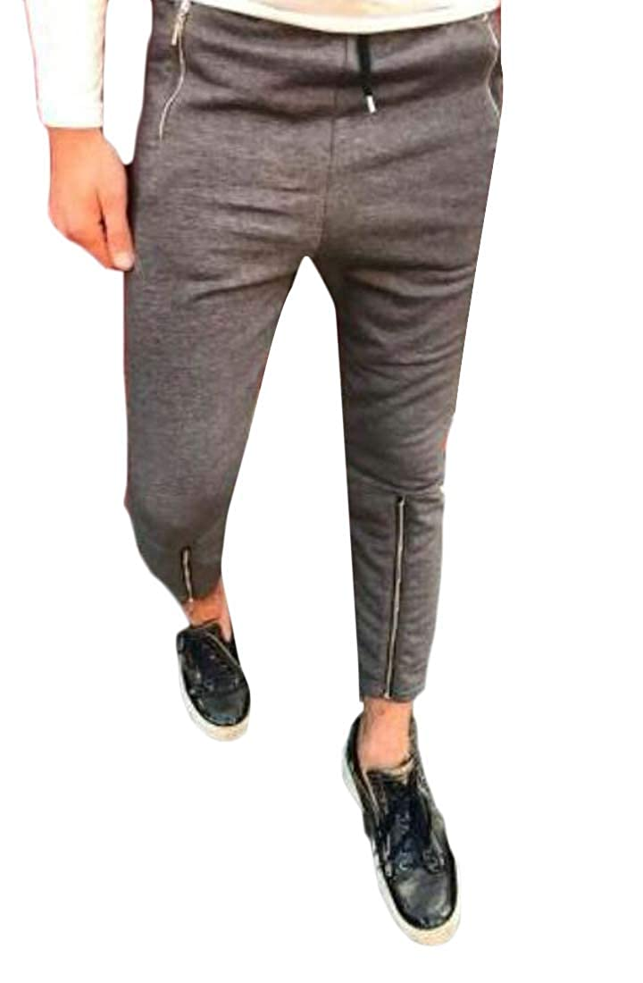 Fubotevic Mens Pencil Casual Jogger Pants Solid Color Jogger Mutli-Zip Pants Trousers