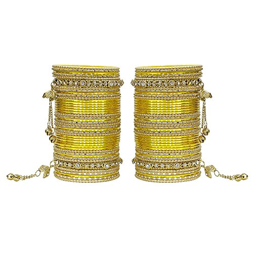 MUCH-MORE 86 Bangles Set of Multi Colour Amazing Collection of Latkhan Bangles Set (Yellow, 2.6) Bangle Yellow Jewelry Set