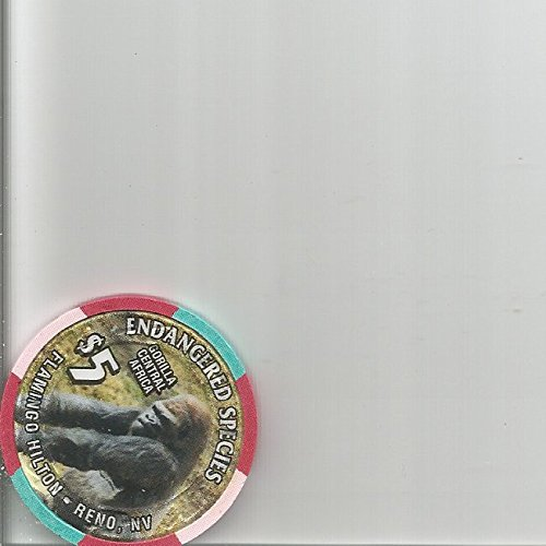 - $5 flamingo hilton endangered species gorilla central africa reno nevada casino chip