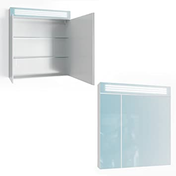 Badschränke Weiß Hochglanz vicco spiegelschrank temps led 80 cm weiß hochglanz badschrank