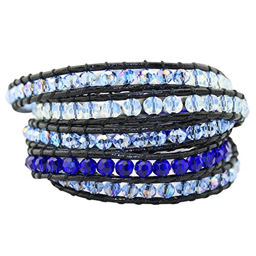 Babao Jewelry Sparkling Ocean Blues Crystal Faceted Beads Leather 5 (Sparkling Beaded Bracelet)