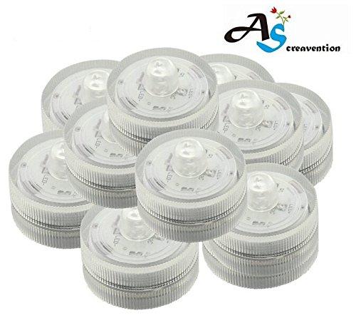 A&S Creavention LED Wedding Mini Light Waterproof Wedding Underwater Battery Sub Lights LED (10, White)