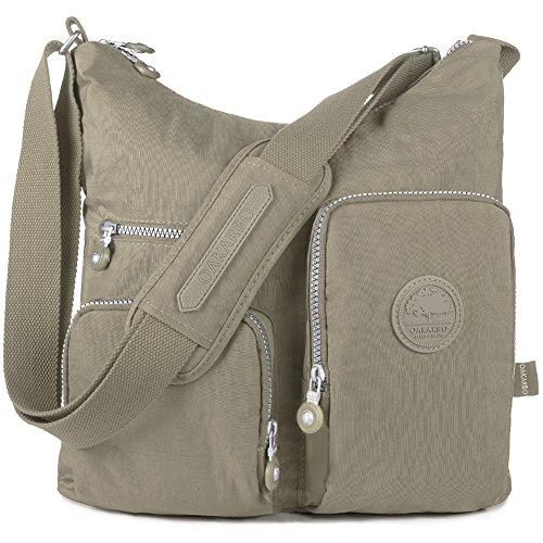 Oakarbo Crossbody Bag Nylon Multi-Pocket Travel Shoulder Bag (1204 Desert sand, Large)