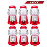 """Toy Group Premium Pack Of 6 Mini 5"""" Plastic Gumball Machines–Small Set Of Red Bubble Gum Dispenser For Boys & Girls –Novelty Fun Birthday Party Favor Idea"""