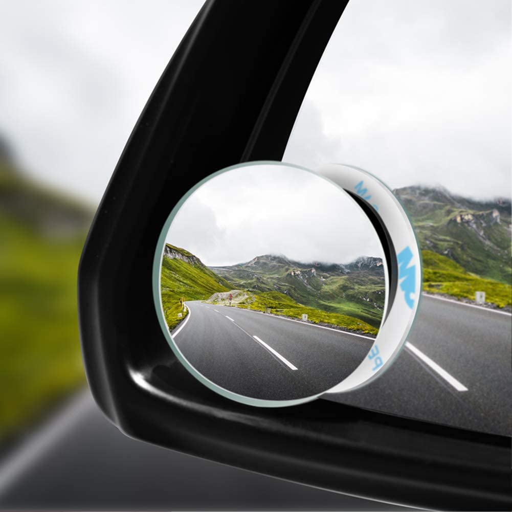 Cans Round RVs Pack of 2 Round Blind Spot Mirrors 360 Degree Frameless Full Wide Angle Adjustable Convex Glass Rear View Stick On Lens for All Universal Car Trucks
