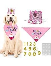 WOVTE Pink Flower Crown Dog Birthday Hat Bandana Cute Cat and Dog Headdress Hat Cat and Dog Celebration Birthday Decoration, Pet Birthday Party Supplies