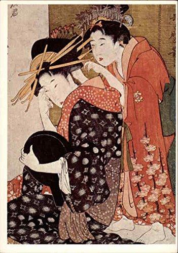 the-oiran-yoso-oi-seated-at-her-toilet-art-original-vintage-postcard