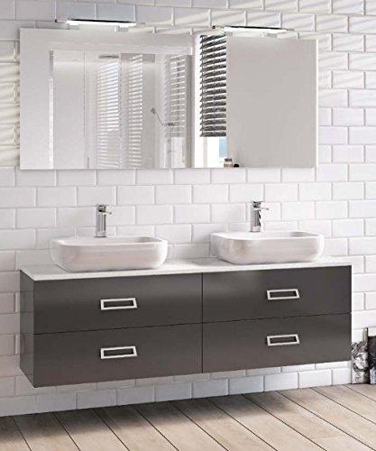Mobile Arredo Bagno cm 160x40 con doppio lavabo con 4 cassetti ...