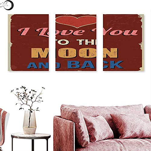 """J Chief Sky I Love You Wall hangings Vintage Style I Love You to The Moon and Back Calligraphy Valentines Romance Triptych Wall Art Ruby Marigold Triptych Art Canvas W 12"""" x L 24"""" x3pcs"""