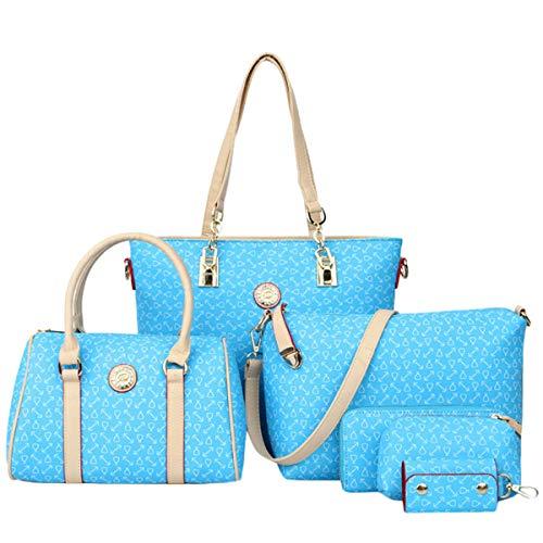 Londony↪❤Women Multi Purpose Classic Design Patent Purse Leather Shoulder Fashion Handbags Tote Bag Satchel Purse Set Sky Blue