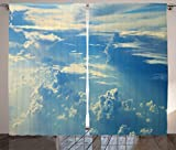 Ambesonne Apartment Decor Curtains, Sunrise Foggy Morning Scenery View of Sky and Clouds from Airplane Picture, Living Room Bedroom Decor, 2 Panel Set, 108 W X 84 L Inches, Navy Cream