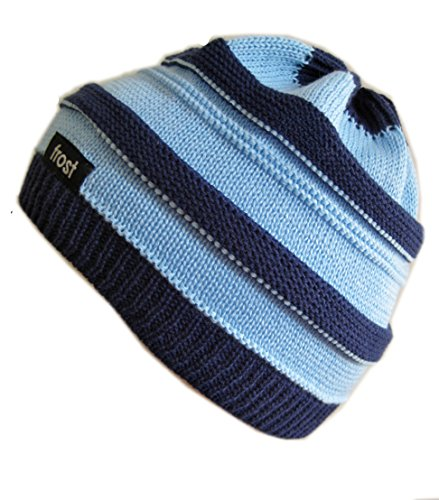 Frost Hats Spring Fall Hat for Boys LIGHT BLUE/NAVY Stylish Knitted Beanie Hat Spring Beanie Cotton Acrylic Hat One Size Light Blue/Navy