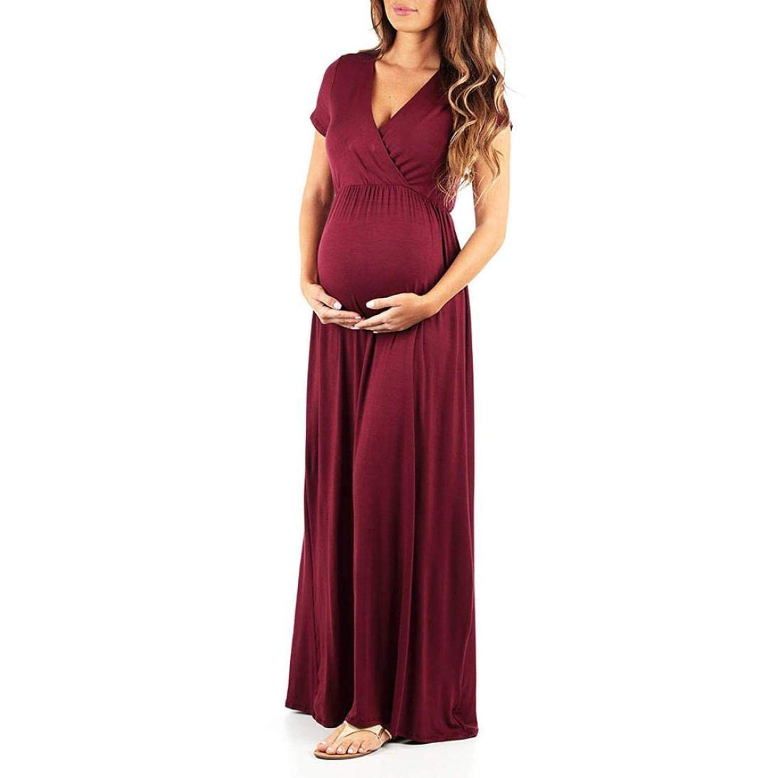 Jushye Clearance!Women's Pregnant Dress,Summer Nursing Solid Maternity Long Maxi Dress (Wine, M)