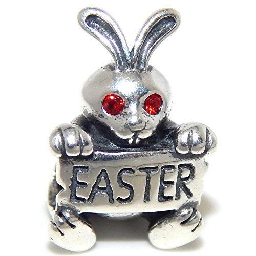PJEWELRY 925 Solid Sterling Silver Bunny with Red Crystal Eyes Holding an 'Easter' Sign Charm Bead