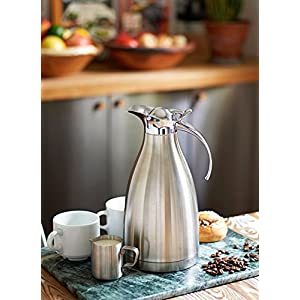 Stainless Steel Coffee Carafe by JPVictoria 68 oz Insulated Thermal Thermos with Bottle Brush and 5 oz Milk Pitcher (3 Piece Set)
