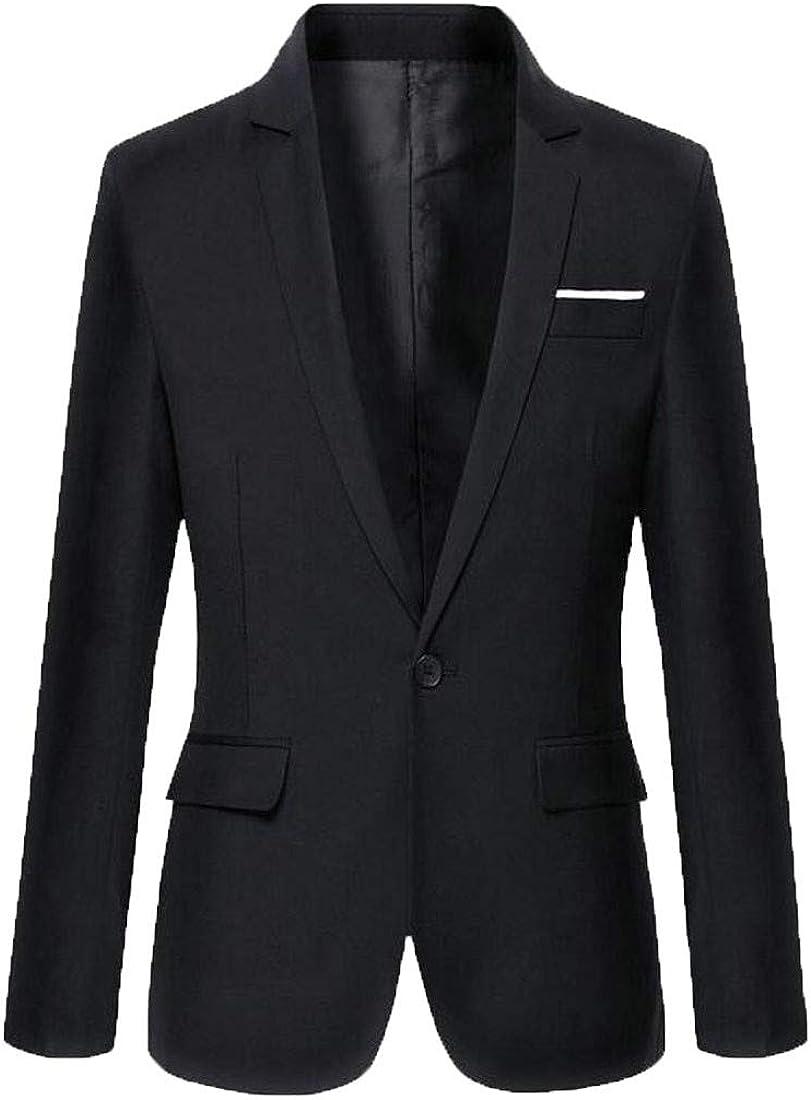 Sweatwater Men Lapel One Button Coat Casual Slim Fit Blazer Jackets