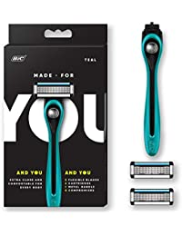 by BIC Shaving Razor Blades for Every Body - Men & Women, with 2 Cartridge Refills - 5-Blade Razors for a Smooth Close Shave & Hair Removal, TEAL, Kit