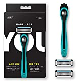 Beauty : Made For YOU by BIC Shaving Razor Blades for Men & Women, with 2 Cartridge Refills - 5-Blade Razors for a Smooth Close Shave & Hair Removal, TEAL