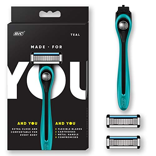 Made For YOU by BIC Shaving Razor Blades for Men & Women, with 2 Cartridge Refills - 5-Blade Razors for a Smooth Close Shave & Hair Removal, TEAL