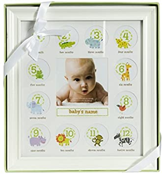 Amazoncom Stepping Stone Babys First Year Picture Frame White