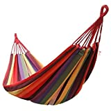 1.Brand new and high quality. 2. Sturdy suspension rings 3. Durable and dirt-proof design 4. Foldable and portable netted shape 5. A comfortable place to relax. 6.Two person double hammock. 7.Pattern: Stripe design 8.Durable cotton material, strong c...
