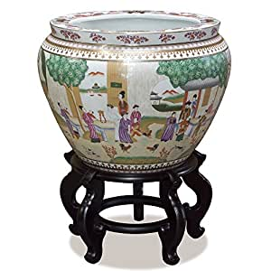 China Furniture Online 15in Porcelain Fishbowl Planter, Imperial Court Garden Scene