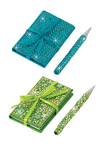 Bejeweled Notebooks with Matching Pens - Set of 2 (Green & Aqua) - Pocket-Size, Bejeweled Journal with Matching Pen Adorned with Faux Gems and Glitter; 2 Piece Se