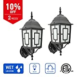 IN HOME 1-Light Outdoor Exterior Wall Up Lantern, Traditional Porch Patio Lighting Fixture L05 with One E26 Base, Water-Proof, Black Cast Aluminum Housing, Frosted Glass Panels, (2 Pack) ETL Listed