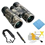 Bushnell 141043 Powerview 10x42mm Realtree Camo AP Roof Binoculars + Zeikos Wide Strap + Accessory Kit