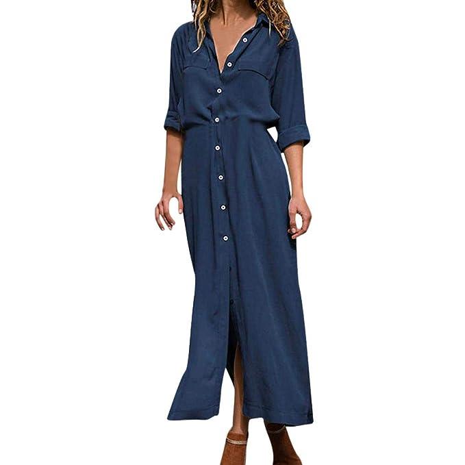 new concept 8e29a 0b074 HWTOP Bodenlanges Kleid Damen Kleider Longform Kleid Jeans ...