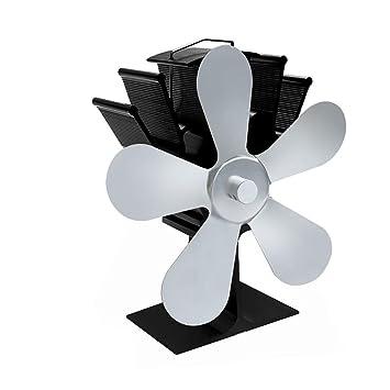 Chimenea ventilador soplador nuevo diseño cinco cuchillas interior energía térmica Powered estufa de leña silencioso madera