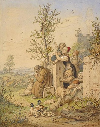 Oil Painting 'Spring Has Arrived, 1870 By Ludwig Richter' Printing On Perfect Effect Canvas , 8x10 Inch / 20x26 Cm ,the Best Bathroom Decoration And Home Decoration And Gifts Is This Cheap But High Quality Art Decorative Art Decorative Prints On Canvas (Spring Step Allegra)