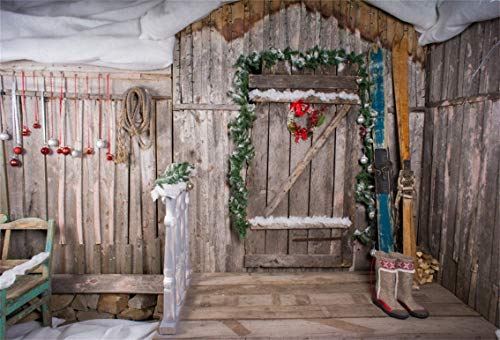 CSFOTO 10x7ft Background for Rustic Wood Door with Wreath Photography Backdrop Merry Christmas Garland Fir Winter Ski Board Rural Scene Snow Festival Celebrate Photo Studio Props Vinyl Wallpaper (Snow Ski Drop Sock)