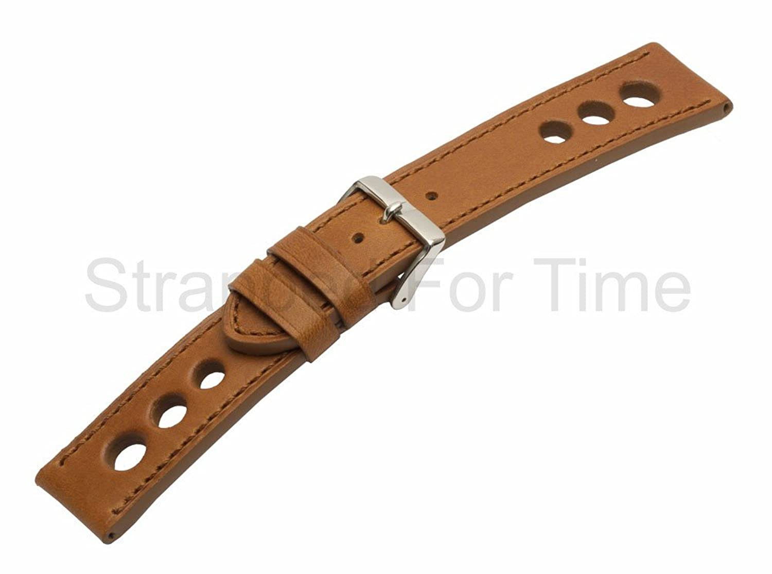 Strapped for時間22 mm Tan Grand Prix Rally Racing Genuine Leather Watch Band Matching Stitch  B01LZXTFDE