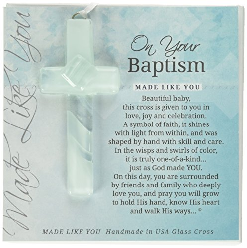 On Your Baptism Beautiful Baby Handmade Aqua Glass Cross