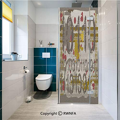 Window Door Sticker Glass Film,Binary Grunge Background with Acid Etched Numbers Murky Chaotic Graphic Decorative Anti UV Heat Control Privacy Kitchen Curtains for Glass, 17.7 x 47.2 inch,Dark -
