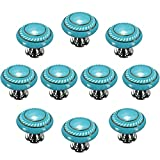 Idealdecor 10pcs Blue Retro Style Round Ceramic Door Knob Kitchen Cabinet Drawer Cupboard Locker Pull Handle ,vintage Ceramic Dresser,Wardrobe Cabinets & Vanity Knob Handle Pull