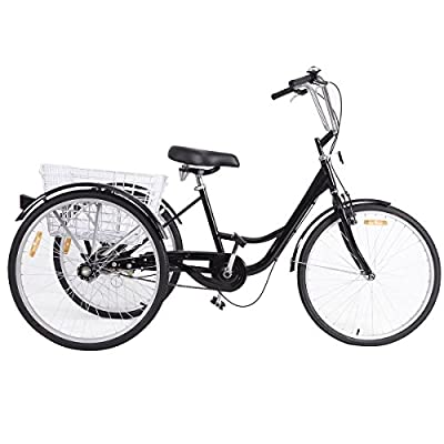 Black 3-Wheel Bicycle Adult Tricycle Adjustable Seat Height w/ Storage Basket