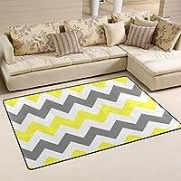 DEYYA Non-slip Area Rugs Carpet Home Decor,Vintage Retro Gray Chevron Pattern Floor Mat Doormats for Living Room Bedroom 60 x 39 inches
