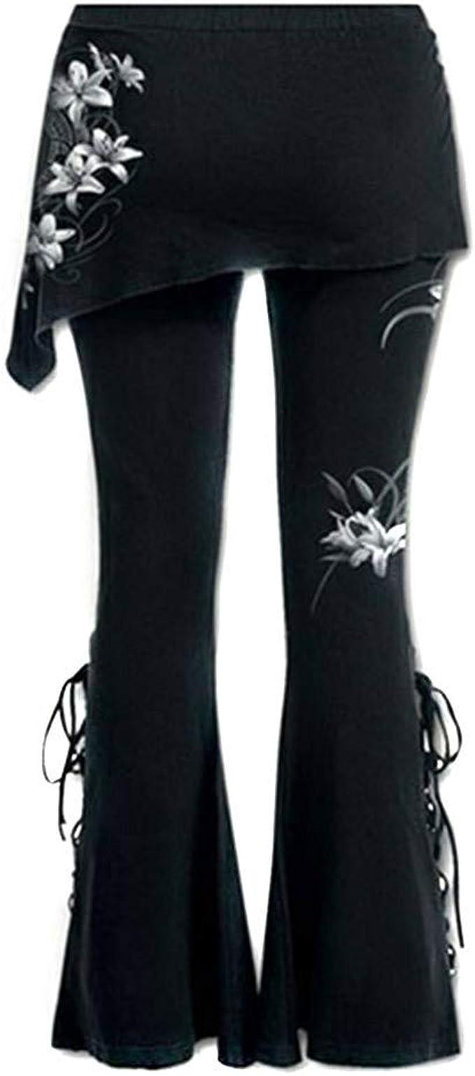 STRIR Pantalón Acampanados Jeans Gótico con Estampado de Flor ...