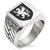 Two-Tone Stainless Steel Griffin Valor Coat of Arms Shield Engraved Geometric Pattern Biker Style Polished Ring, Size 9