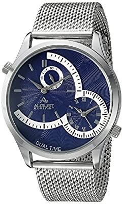 August Steiner Men's AS8168SSBU Silver Dual Time Zone Quartz Watch with Blue Dial and Silver Mesh Bracelet